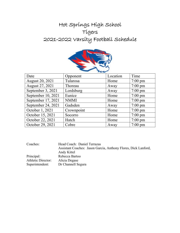 HSHS Tiger Football Schedule