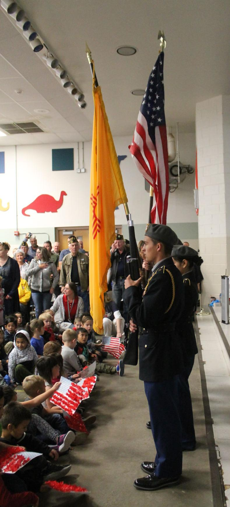 Hot Springs High JROTC color Guard Opens Assembly
