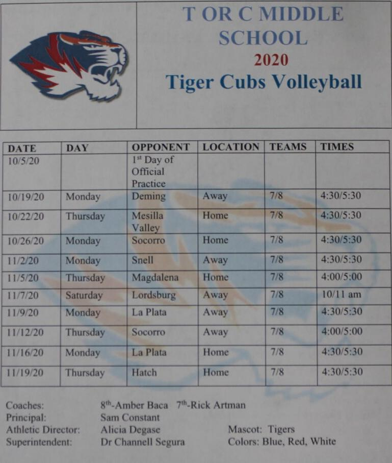 TCMS Volleyball Schedule