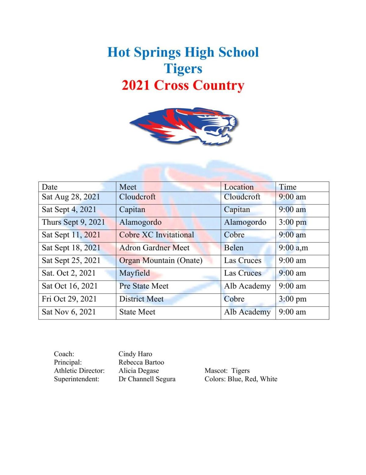 Tiger Cross-Country Schedule