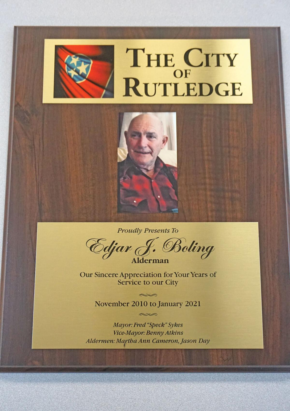 Rutledge BMA selects alderman, presents plaque