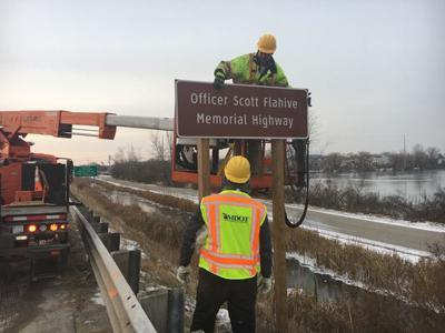 Signs go up for Scott Flahive Memorial Highway