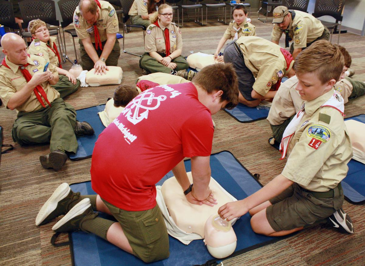 Firefighters help scouts earn Heart Saver, safety badges