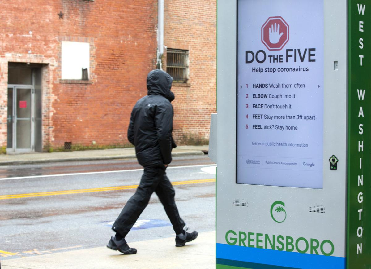 Greensboro sidewalks virtually empty during lunch hour (copy)