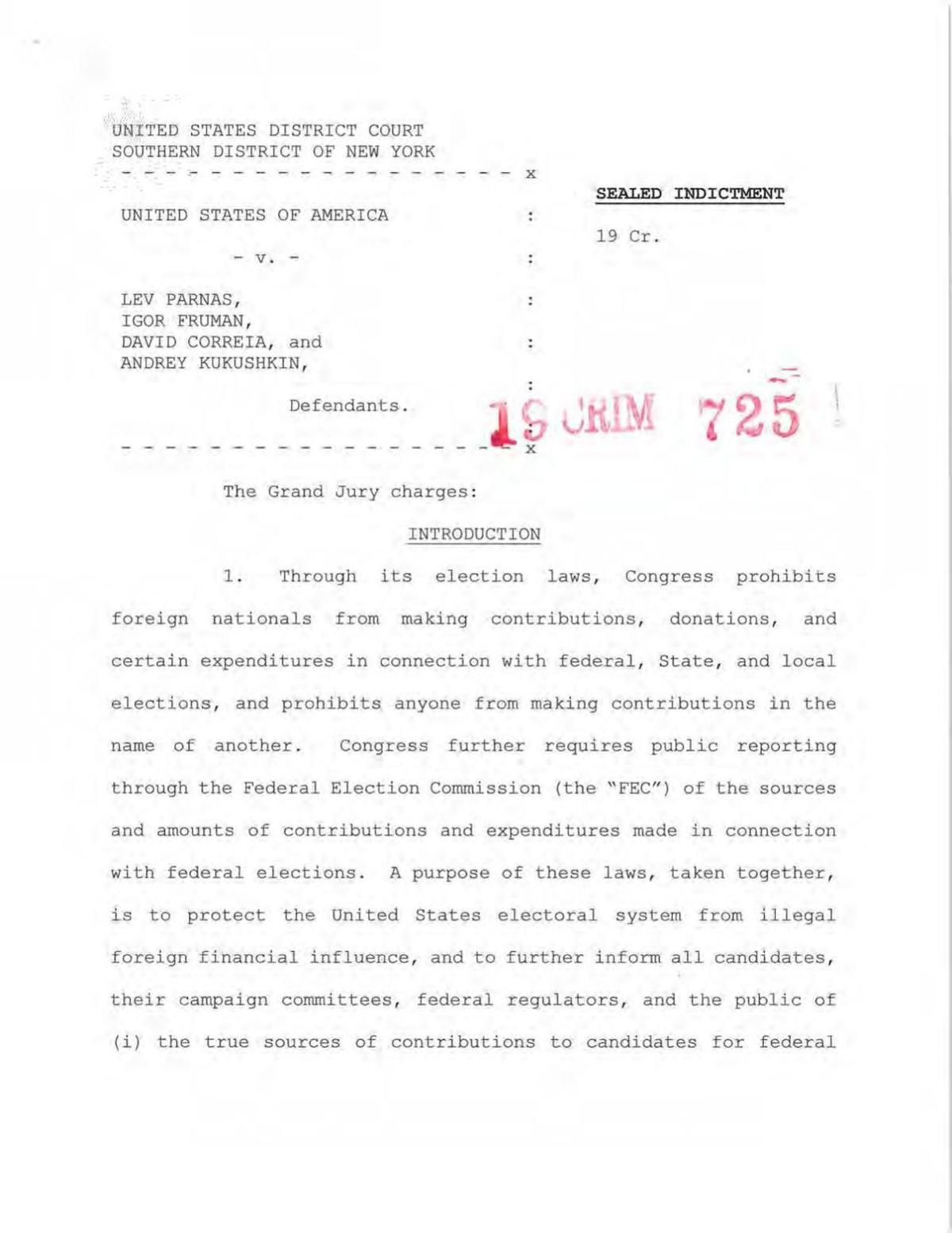 READ: Indictments against Parnas and Fruman