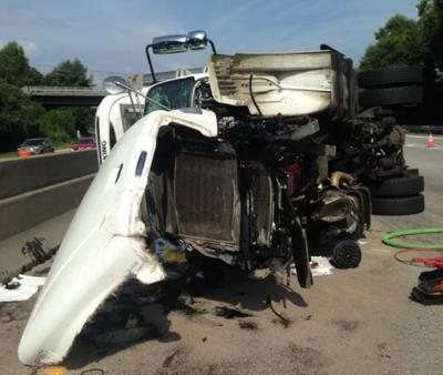 Tractor-trailer overturns on I-40 near US 52 | Local News