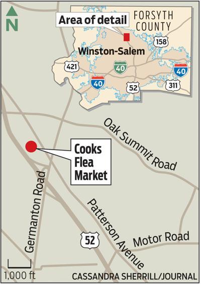Location of Cook's Flea Market