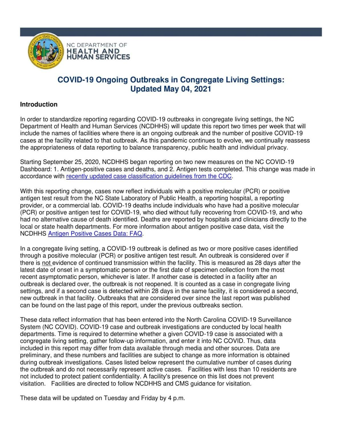 May 4, 2021, COVID-19 outbreaks report