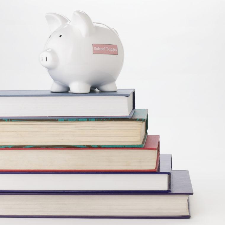 school books, budget, piggy bank