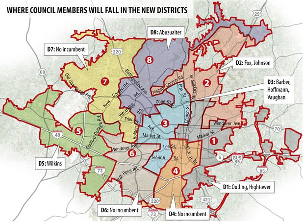 New district map gives glimpse of possible Greensboro council makeup