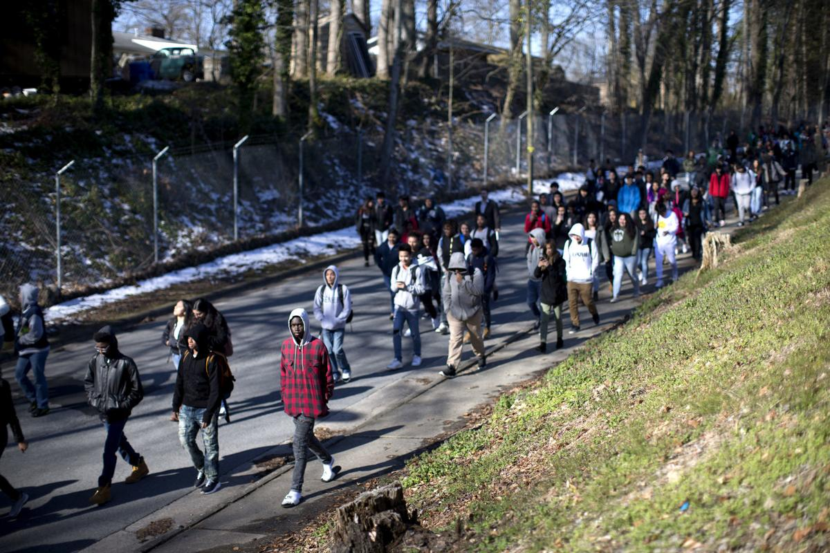 Ben L Smith High School students walk out of class on one month