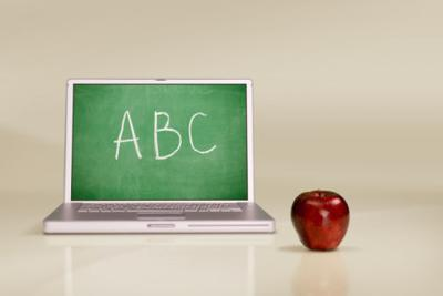 education schools computer with chalkboard apple