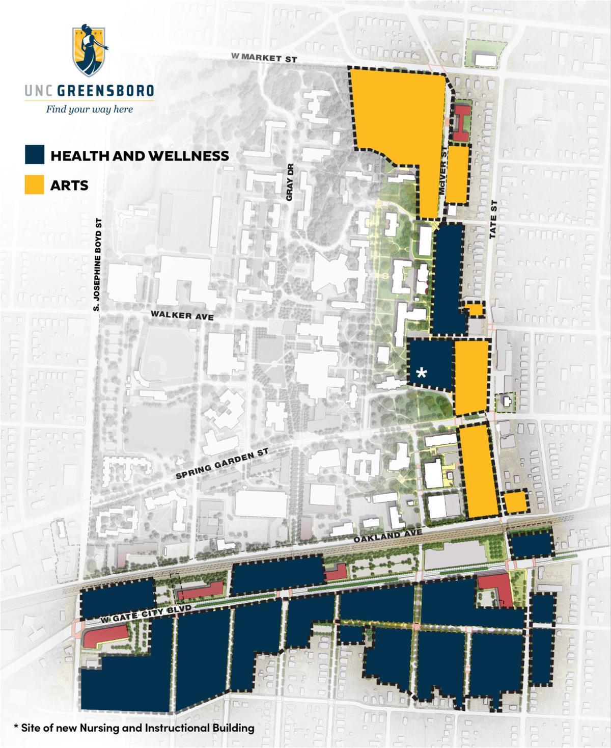UNCG Millennial Campus districts 2019