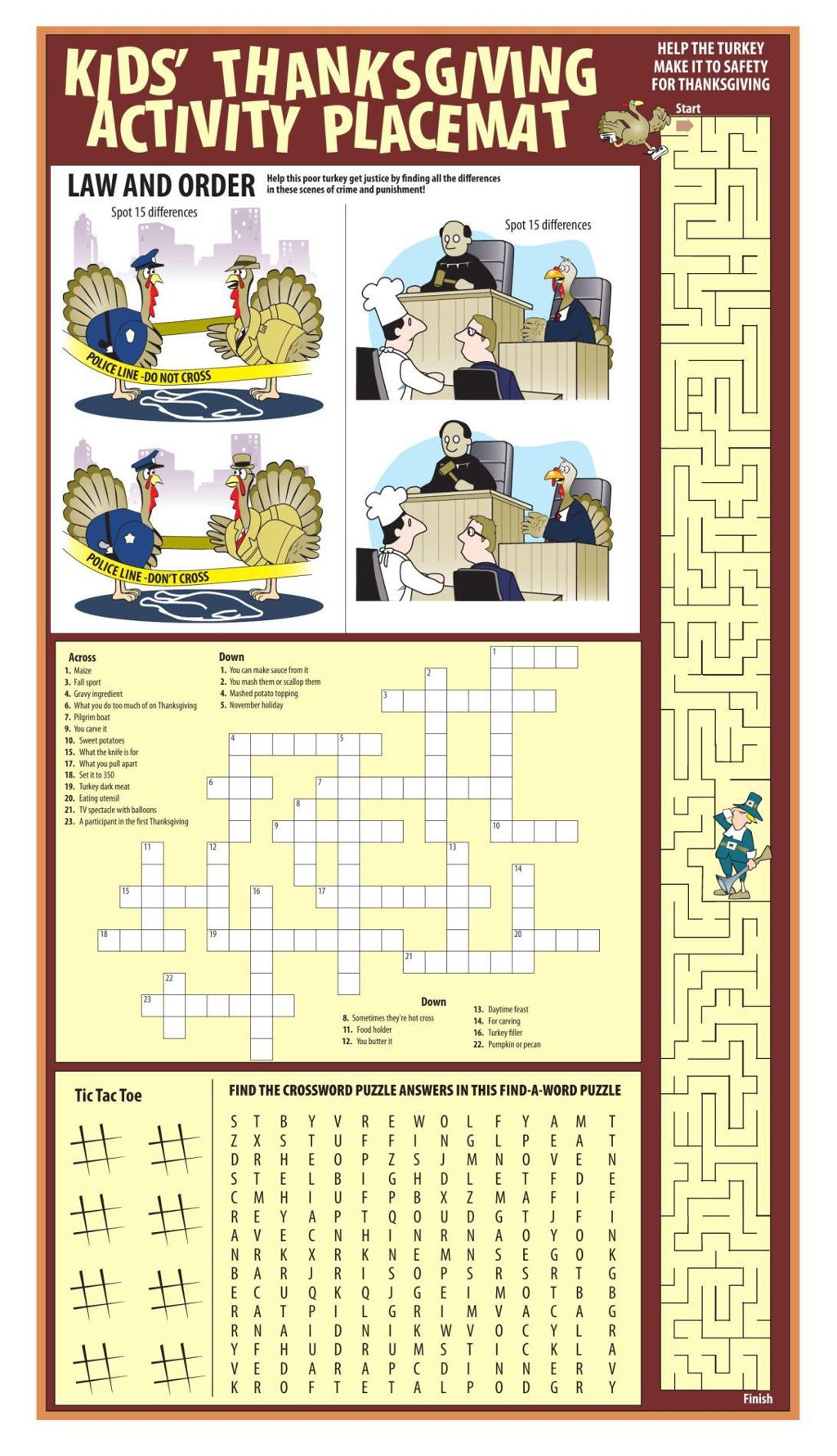 Print out our placemat for Thanksgiving fun | Lifestyles