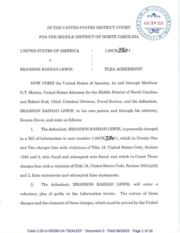 Brandon Lewis plea agreement