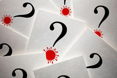 Question marks with Coronavirus COVID-19
