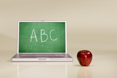 education schools computer with chalkboard apple