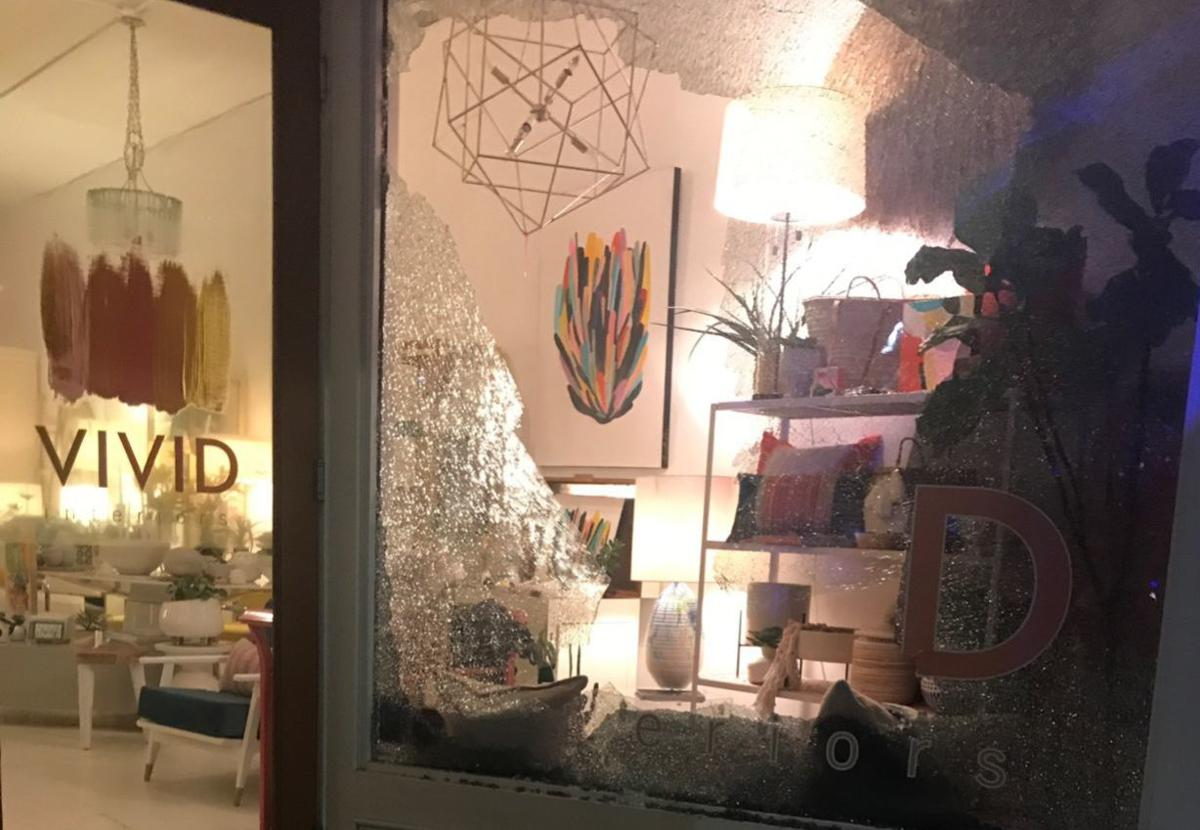 Broken out windows during Greensboro protest that turned violent