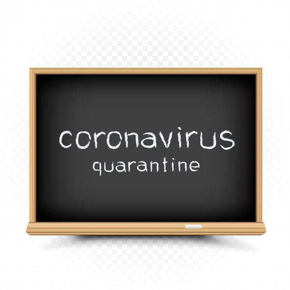 coronavirus quarantine draw on chalkboard Coronavirus quarantine isolation period drawn text on chalkboard. School epidemic infection warning message (copy)