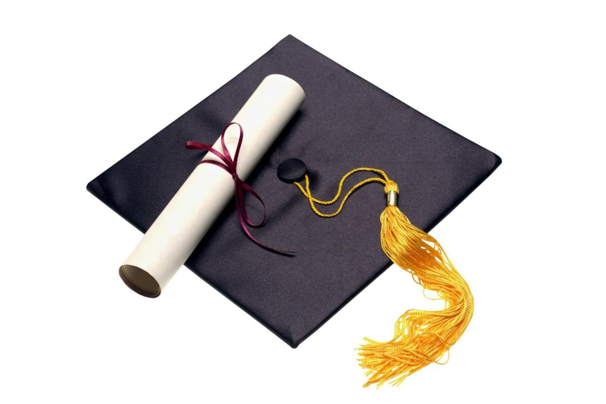 College generic graduation commencement cap and diploma