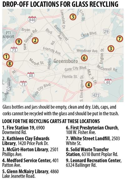 Drop-off recycling locations for glass
