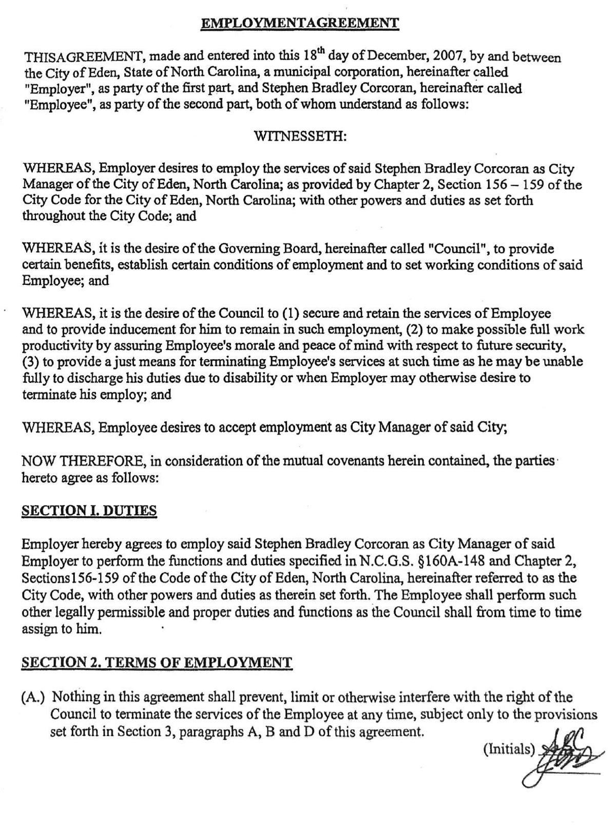 READ: City of Eden Employment Agreement with Brad Corcoran