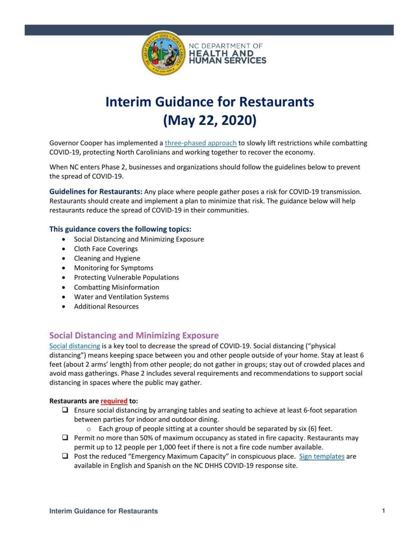 Interim guidance for restaurants