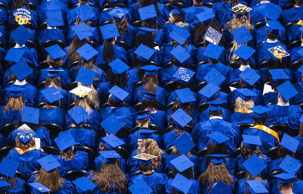 College generic commencement overhead