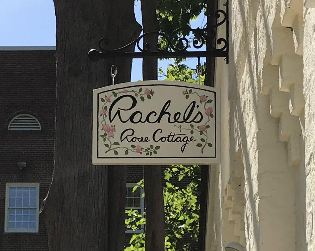 Guilford College Rachel's Rose Cottage sign