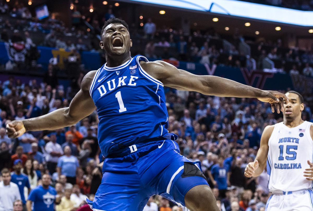 000df0f9a1a Duke's Zion Williamson after dunking during the semifinals of the ACC  Tournament at the Spectrum Center.