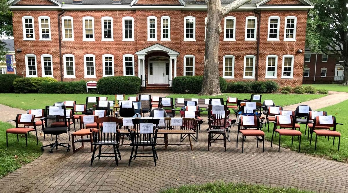 Guilford College chairs and benches