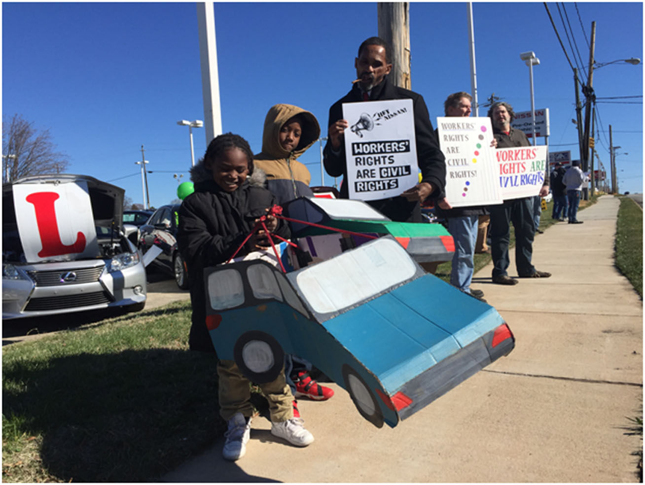 Demonstrators Protest Nissan Working Conditions