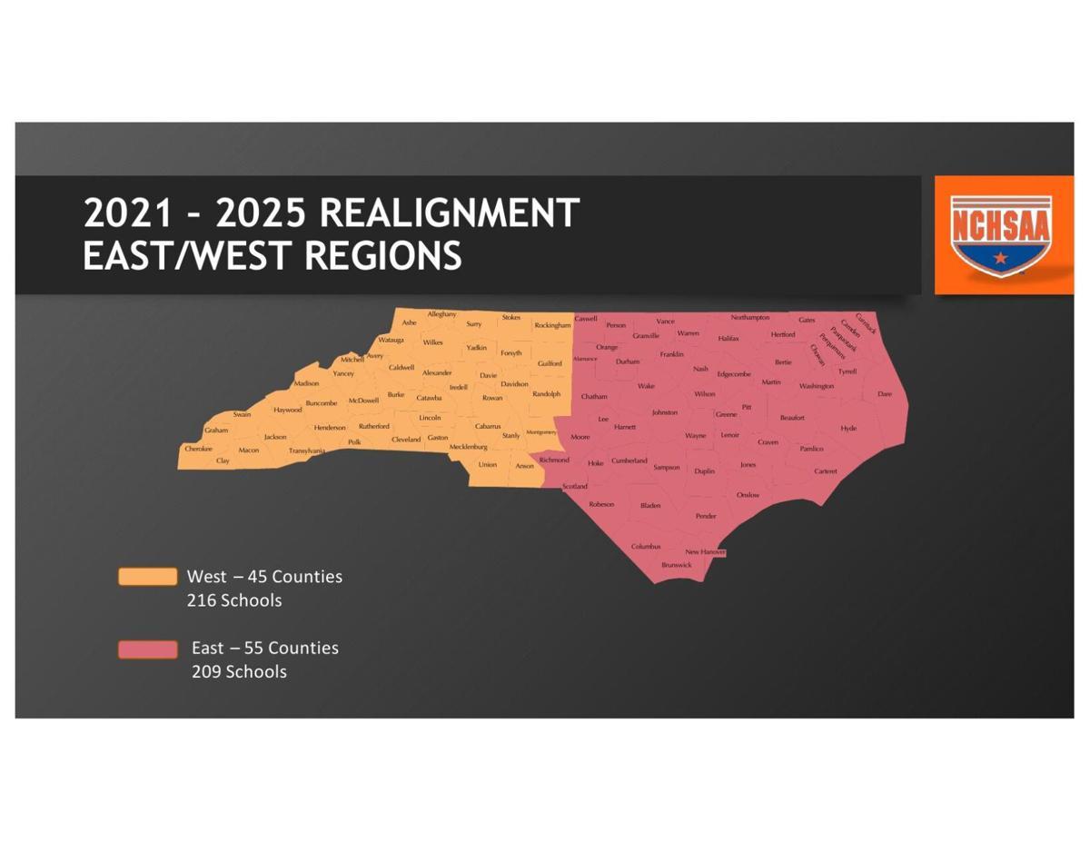 NCHSAA regional map