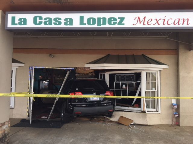 SUV crashes into Mexican restaurant on Healy Drive in