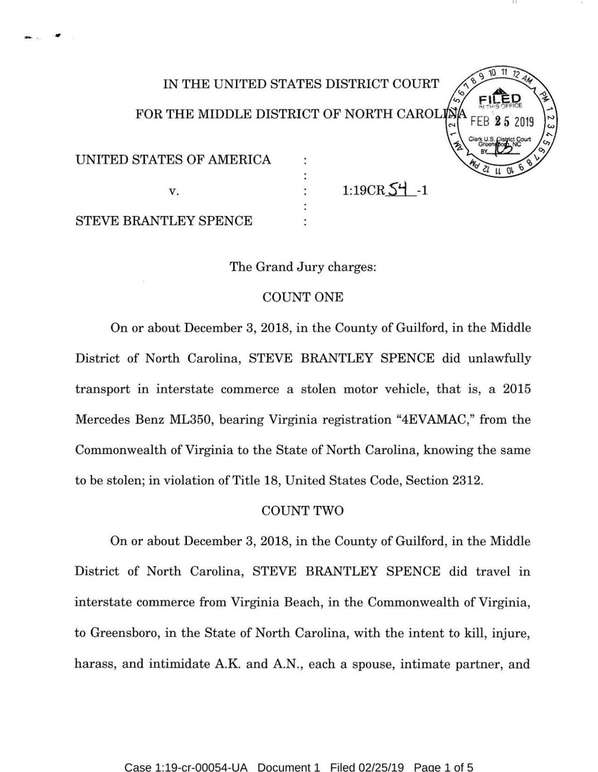 READ: Indictment against Spence