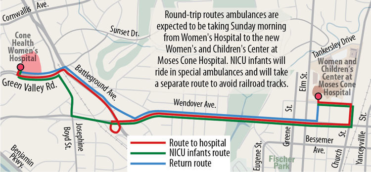 Route for ambulances from Women's Hospital to Moses Cone Hospital's new Women and Children's Center