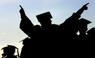 College generic graduation commencement graduate pointing