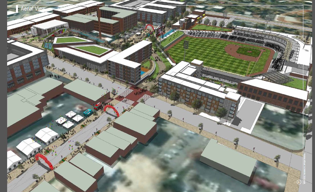 Aerial view of the proposed stadium area in downtown High Point