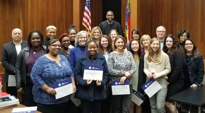 Judge Marcus Shields and new Guardian ad Litem volunteers