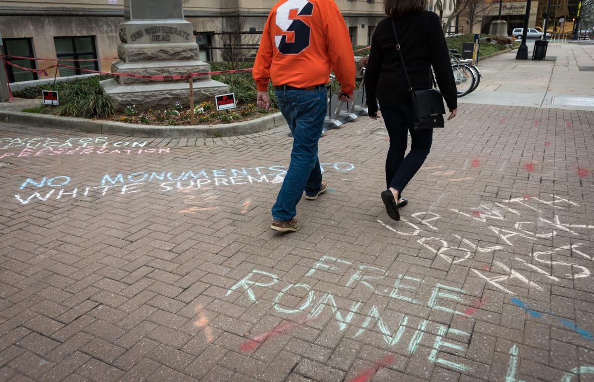 Chalk Writing at Confederate Statue