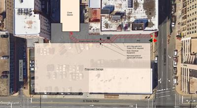 Design proposal for city parking deck with Westin Hotel project