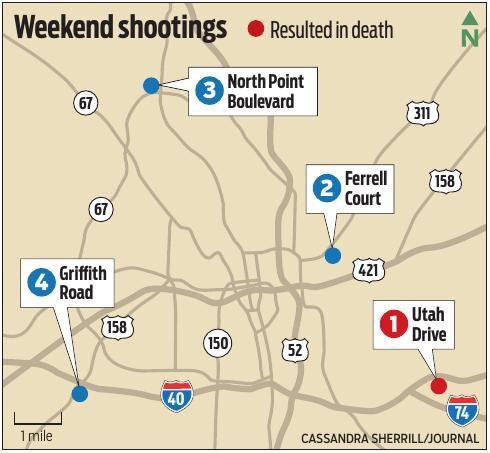 Map of weekend shootings in Winston-Salem