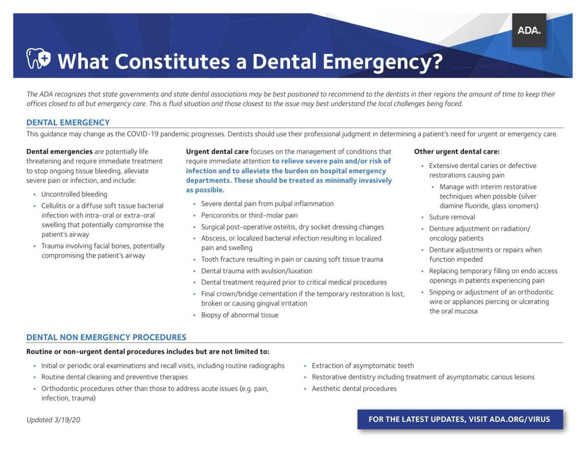 What constitutes a dental emergency?