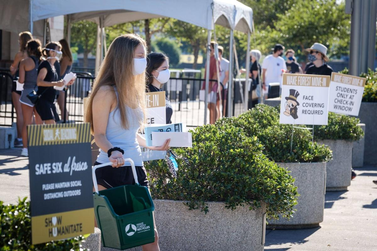 Wake Forest move-in 2020 coliseum check-in
