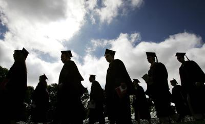College generic graduation commencement grads in profile