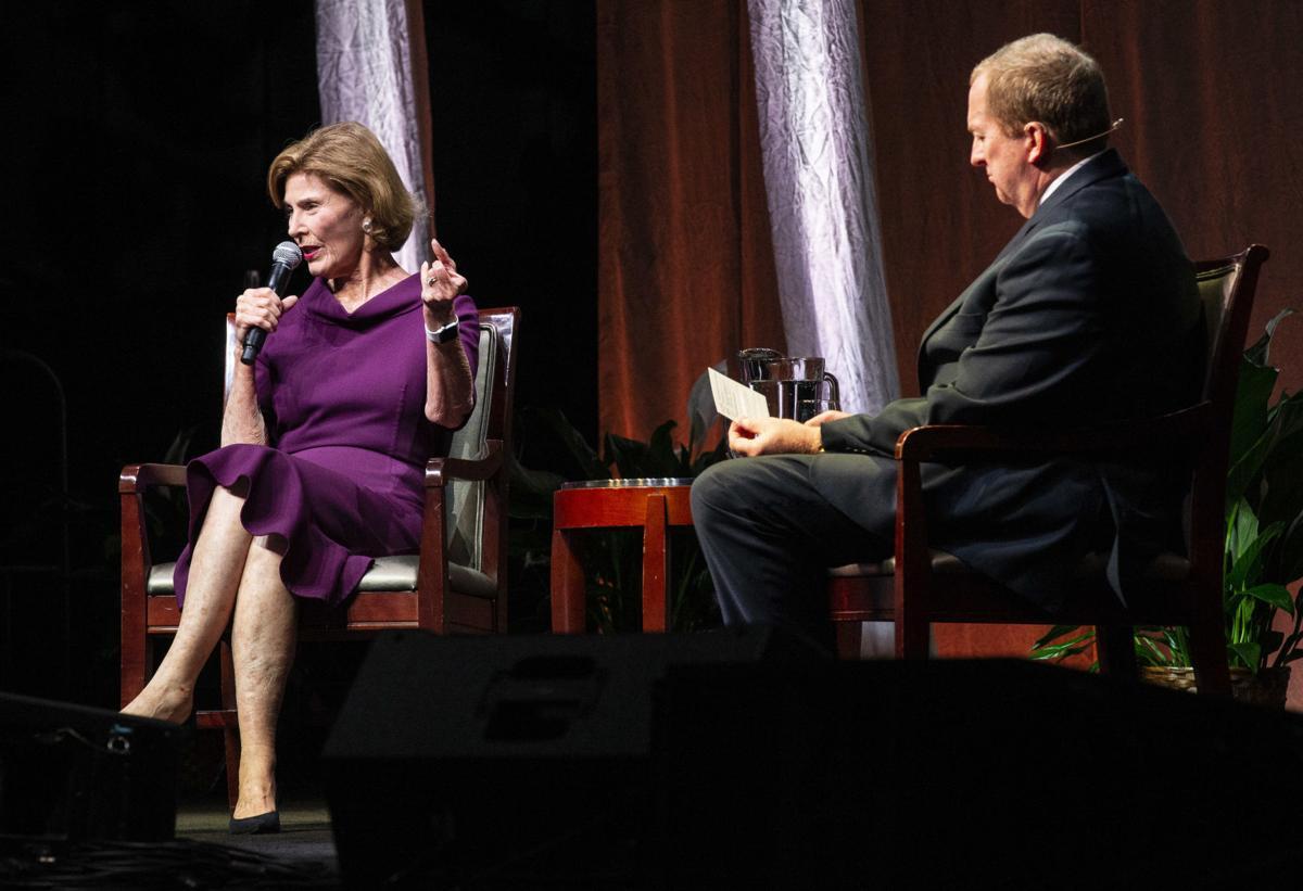 Laura Bush speaks at Guilford College Bryan Series