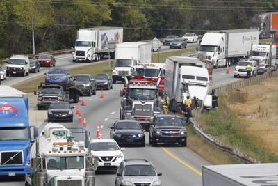 Interstate 40 traffic backed up in Greensboro due to wreck