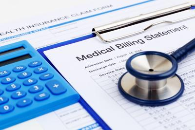 Medical bill and health insurance form with calculator (copy)