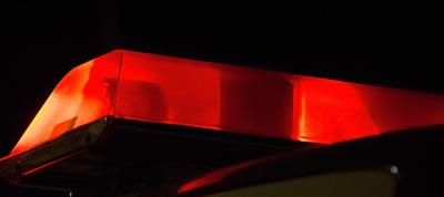 Red light flashing on emergency vehicle