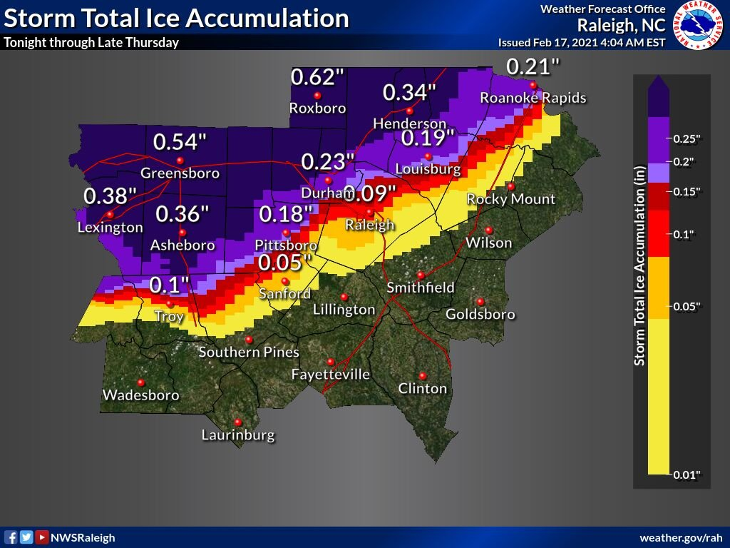 Ice storm forecast as of Wednesday Feb 17 2021